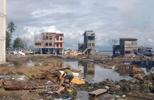 Sumatra, Indonesia, was hit hard by the December 2005 tsunami. (U.S. Navy photo by Jennifer Rivera.)