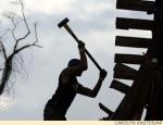 Volunteer rebuilding New Orleans after Hurricane Katrina.