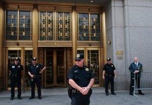 New York policemen stand guard. Photo c/o Chris Hondros/AFP